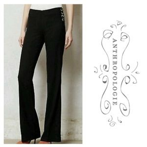 Elevenses Anthropologie Black Side Button Trousers